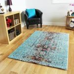 New Thick Soft Modern Blue Orange Patterned Rugs – Stella 120cmx170cm
