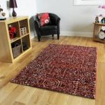 Easy Clean Thick Red Rugs For Living Room Soft Non Shedding Mats –