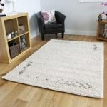 Moroccan Non Shed Modern Cream Brown Soft Tribal Shaggy Rugs 133 x