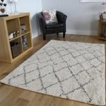 Moroccan Soft Cream Brown Thick Trellis Heat Set Shaggy Rugs 160cm x