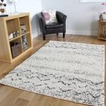 Moroccan Cream Black Striped Deep Pile Shaggy Rugs 133 x 195cm (4ft 4