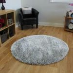 Super Soft High Shine Silver Grey Dense Shaggy Circle Rugs – Calgary