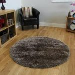 Thick Soft Glossy Brown & Copper Plain Shag Pile Circle Rugs – Calgary