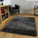 Thick Shaggy Non Shed Dark Grey & Silver Glossy Rugs – Calgary