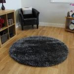 Thick Shaggy Non Shed Dark Grey & Silver Large Glossy Circle Rugs –