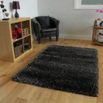 Super Soft Dense Silver & Black Sparkle Shaggy Rugs – Calgary