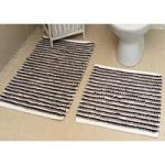 Black Striped Cotton Bath Mats Pom Pom – 50cm x 50cm & 50cm x 80cm