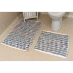 Blue Striped Cotton Bath Mats Pom Pom – 50cm x 50cm & 60cm x 120cm