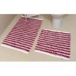 Purple Striped Cotton Bath Mats Pom Pom – 50cm x 50cm & 60cm x 120cm