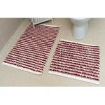 Red Striped Cotton Bath Mats Pom Pom – 50cm x 50cm & 50cm x 80cm