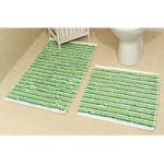 Striped Cotton Green Bath Mats Pom Pom – 50cm x 80cm (1ft 8 x 2ft 7 )