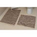 Striped Cotton Natural Bath Mats Pom Pom – 50cm x 50cm & 50cm x 80cm