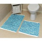 Striped Teal Cotton Bath Mats Pom Pom – 50cm x 50cm & 60cm x 120cm