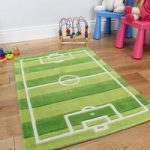 Boy's Soft Green Football Pitch Play Rug Kiddy 110x160cm