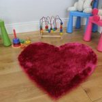 Girl's Fuchsia Pink Love Heart Rug Kiddy 75x75cm