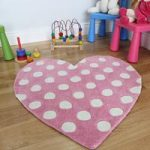 Girl's Pink Polka Dot Love Heart Shape Rug Kiddy 90x90cm
