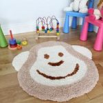 Cheap Natural Beige Fluffy Non Shed Monkey Nursery Rug 75x80cm