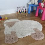 Cute Lamb Non Shed Fluffy Baby Nursery Rug 75x80cm