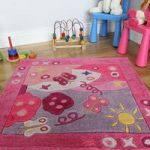 Children's Pink Butterfly Extra Soft Square Rug Kiddy 90x90cm