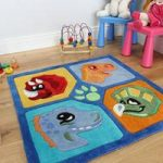 Kid's Blue Square Soft Dinosaur Rug Kiddy 90x90cm