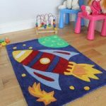 Kid's Boys Soft Blue & Yellow Space Ship Rug Kiddy 70x100cm