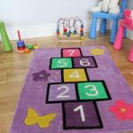 Kid's Purple Hopscotch Fun Learning Play Rug Kiddy 70x100cm