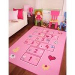 Girls Bright Pink Playtime Fun Kids Hopscotch Rugs – 80cm x 150cm