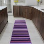 Luna Funky Purple Stripes Machine Washable Non Slip Kitchen Mat