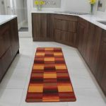 Luna Warm Red Orange Squares Durable Machine Washable Rubber Back Mat