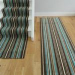 Lima 459 Brown Teal Blue Modern Stripe Extra Long Stair Carpet Runner