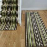 Lima 459 Chocolate Brown Green Stripes Long Stair Carpet Runner – 80cm