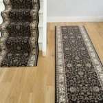 Black and Cream Floral Print Traditional Stair Carpet – Lima 199 Black