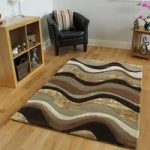 Brown Carved Wave Quality Rug Velvetino Medium