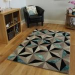 Teal & Grey Geometric Rug Velvetino Medium
