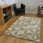 Wool Beige & Grey Geometric Rug Velvetino Large