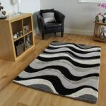 Grey & Black Thick Modern Rug Velvetino Large