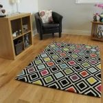 Geometric Multi Coloured Wool Rug Dynamic Medium