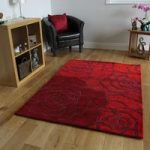 Red Rose Pattern Modern Wool Rug Banbury Medium