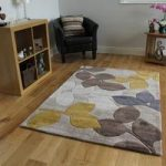 Beige & Yellow Leaf Modern Rug Burano Medium