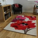 Red & Beige Floral Modern Rug Burano Small