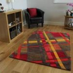 Orange & Red Tartan Modern Rug Banbury Large