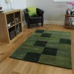 Green Squared Contempoary Rug Banbury Large