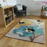 Teal & Yellow Floral Contemporary Rug Burano Large