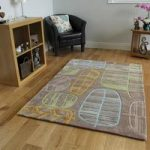 Natural Leaf Print Modern Rug Burano Large