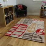 Red & Beige Leaf Design Rug Non Shed Burano Medium