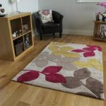 Red & Yellow Floral Modern Rug Large