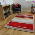 Red & Yellow Striped Contemporary Rug Medina Medium