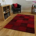 Red Squared Contempoary Rug Banbury Large