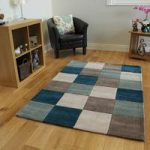 Teal Blue Contemporary Rug Banbury Large