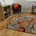 Orange & Beige Floral Modern Rug Atlanta Small
